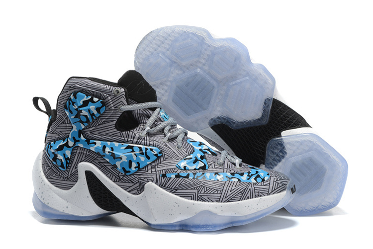 Wholesale Cheap Nike LeBron 13 Camo Grey Blue White Basketball Shoes - www.wholesaleflyknit.com