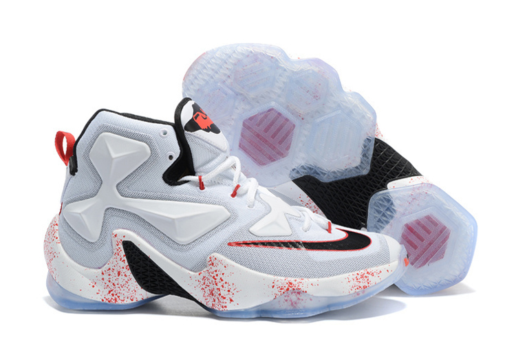 Wholesale Cheap Nike LeBron 13 Friday the 13th White Black-University Red Basketball Shoes - www.wholesaleflyknit.com