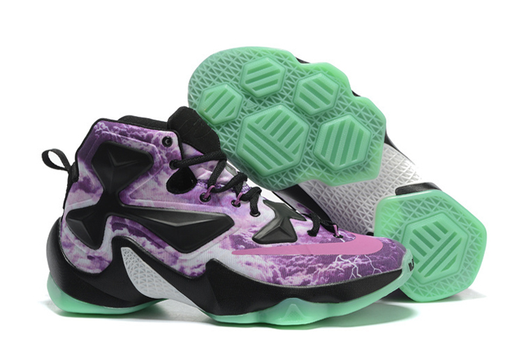 Wholesale Cheap Nike LeBron 13 Galaxy Purple Black Glow In The Dark Basketball Shoes - www.wholesaleflyknit.com