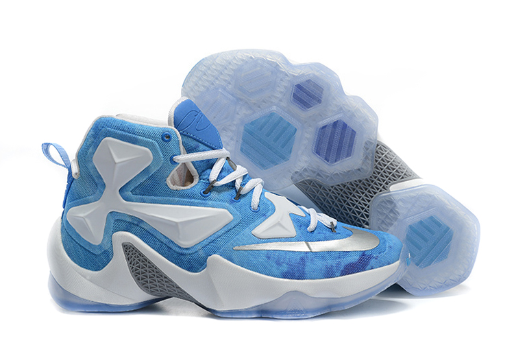 Wholesale Cheap Nike LeBron 13 Lake Erie White Blue Silver Basketball Shoes - www.wholesaleflyknit.com