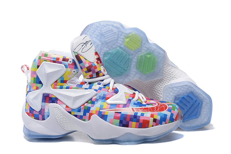 Wholesale Cheap Nike LeBron 13 Prism Multi-Color University Red-White Basketball Shoes - www.wholesaleflyknit.com