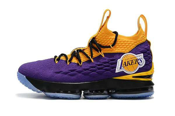 Cheap Wholesale Nike LeBron 15 Lakers Purple Yellow Black Basketball Shoes For Sale - www.wholesaleflyknit.com