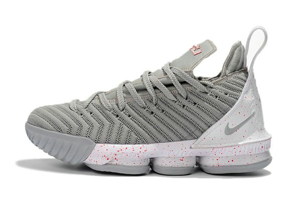 Cheap Wholesale Nike LeBron 16 Wolf Grey White-Red Mens Basketball Shoes Free Shipping - www.wholesaleflyknit.com