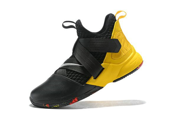 Cheap Wholesale Nike LeBron Soldier 12 Black Yellow Mens Basketball Shoes - www.wholesaleflyknit.com