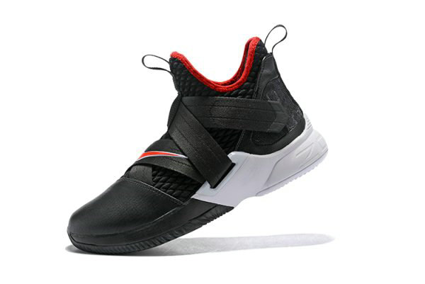 detailed look b43c8 292f6 Cheap Wholesale Nike LeBron Soldier 12 Bred Black University Red-White Mens  Basketball Shoes -