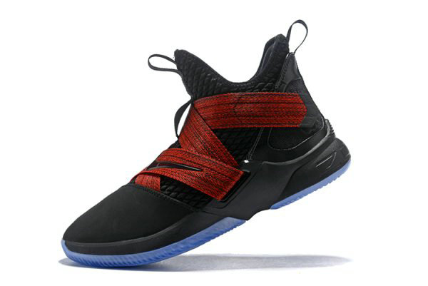 Cheap Wholesale Nike LeBron Soldier 12 Red Straps Black Red AO2609-003 - www.wholesaleflyknit.com
