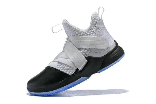 Cheap Wholesale Nike LeBron Soldier 12 White Black Mens Basketball Shoes - www.wholesaleflyknit.com