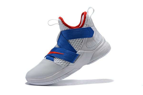 Cheap Wholesale Nike LeBron Soldier 12 White Blue-Red Mens Basketball Shoes - www.wholesaleflyknit.com