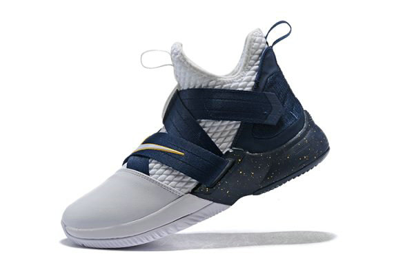 Cheap Wholesale Nike LeBron Soldier 12 XII SFG White Midnight Navy-Mineral Yellow Basketball Shoes - www.wholesaleflyknit.com