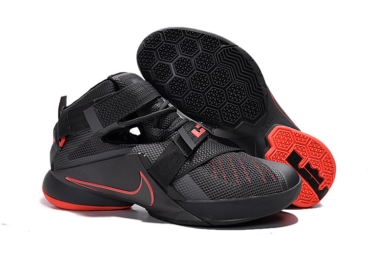 Wholesale Cheap Nike LeBron Soldier 9 Black And Red Highlights Basketball Shoe - www.wholesaleflyknit.com