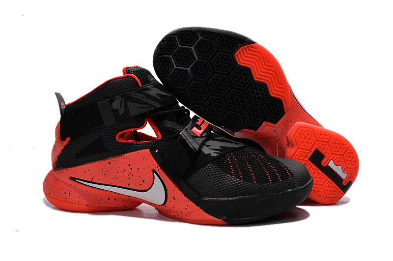 Wholesale Cheap Nike LeBron Soldier 9 Black Red Basketball Shoe - www.wholesaleflyknit.com
