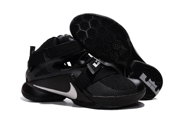 Wholesale Cheap Nike LeBron Soldier 9 Blackout All Black Basketball Shoe - www.wholesaleflyknit.com