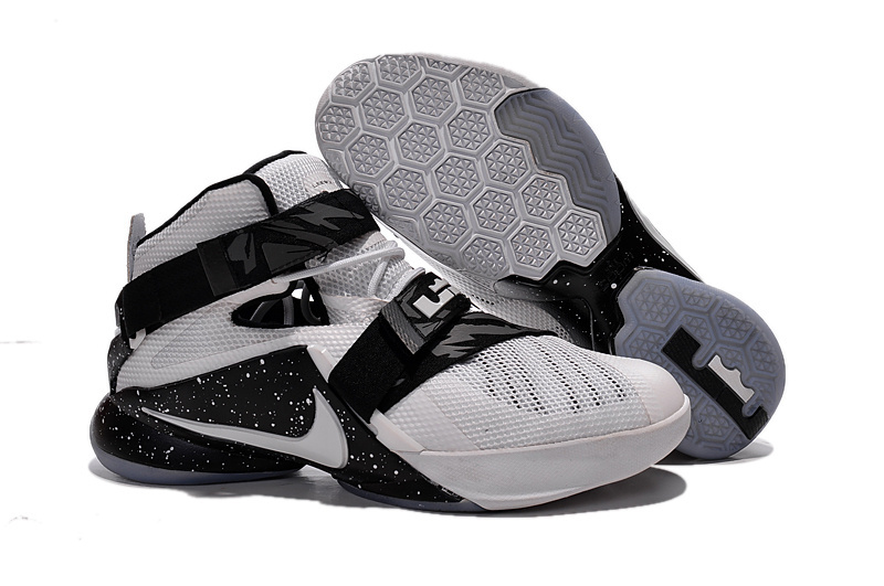 Wholesale Cheap Nike LeBron Soldier 9 White Black Basketball Shoe - www.wholesaleflyknit.com