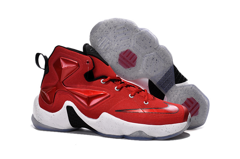 Wholesale Cheap Nike Lebron 13 Gym Red Black White Men Basketball Shoes For Cheap - www.wholesaleflyknit.com