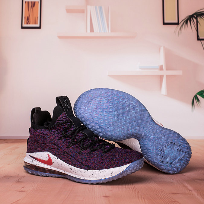 Wholesale Nike Lebron James 15 Low Cheap Purple Black White Red On www.wholesaleoffwhite.com
