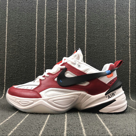 Wholesale Nike M2K Tekno x Off White AO3108-060 Red White Rouge Blanc On www.wholesaleoffwhite.com