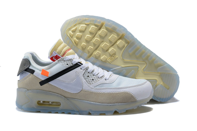 Wholesale Nike Off-White x Wholesale Nike Air Max 90 Cheap Mens Beige White On www.wholesaleoffwhite.com