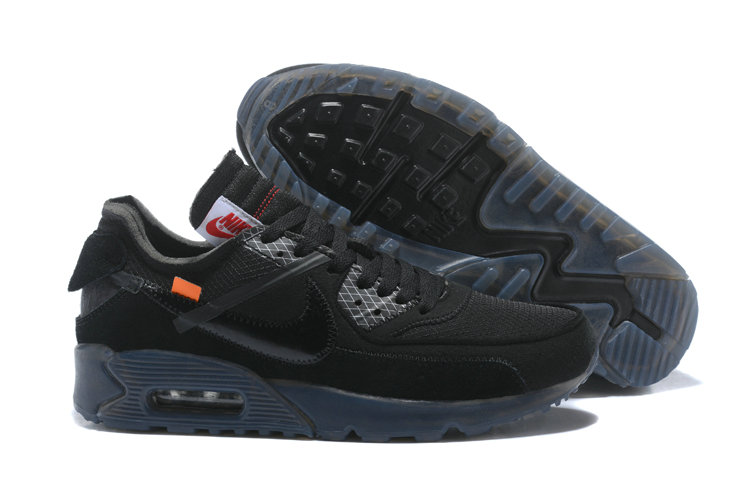 Wholesale Nike Off-White x Wholesale Nike Air Max 90 Cheap Mens Total Black On www.wholesaleoffwhite.com