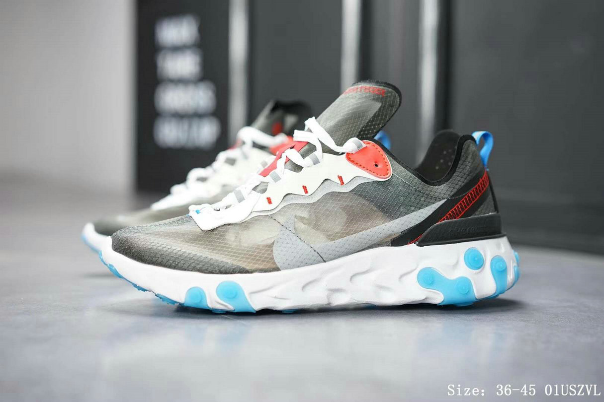 Wholesale Nike React Element 87 Mens Womens Dark Grey Pure Platinum-Photo Blue AQ1090-003-www.wholesaleflyknit.com