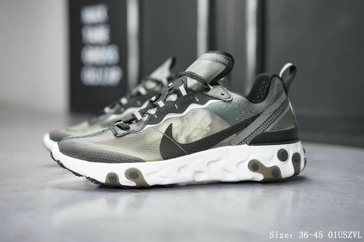 Wholesale Nike React Element 87 Mens Womens Grey Black White Release Date-www.wholesaleflyknit.com