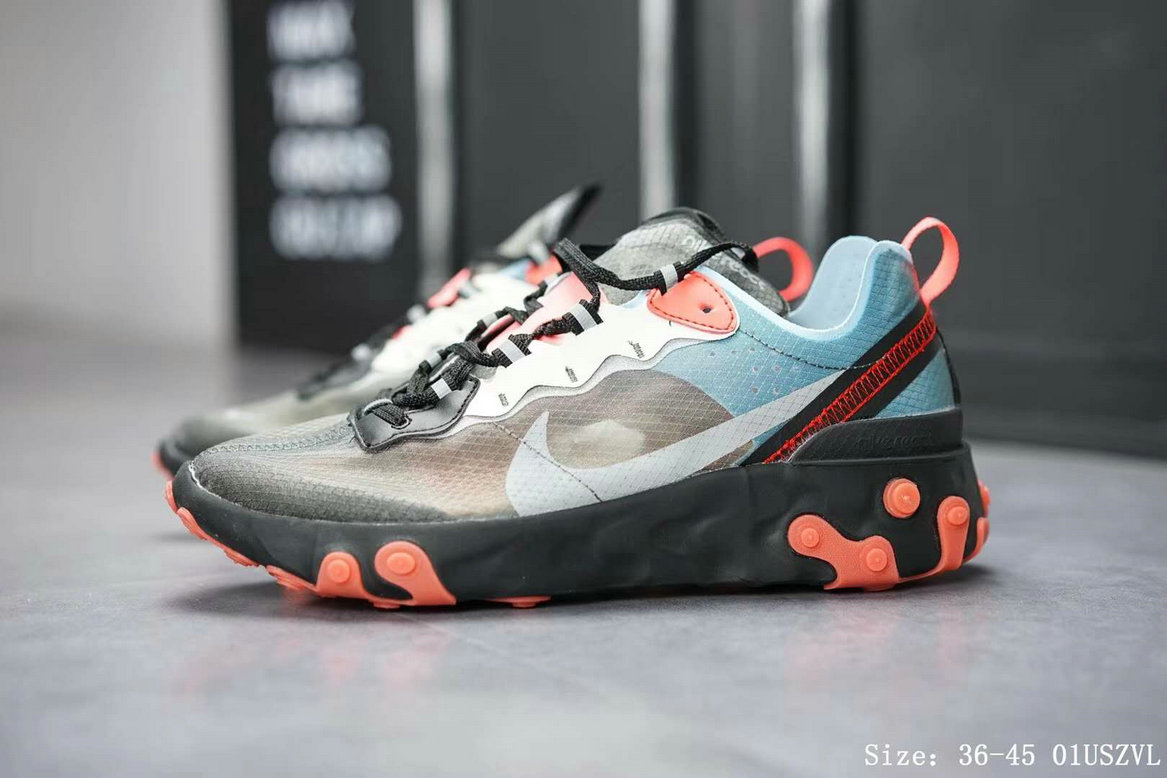 Wholesale Nike React Element 87 Mens Womens Releasing In Blue Chill And Solar Red-www.wholesaleflyknit.com