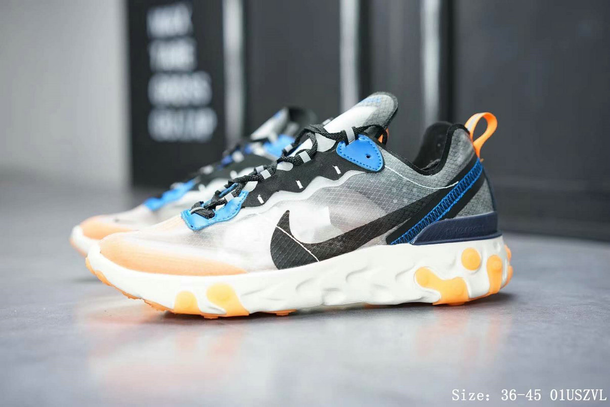 Wholesale Nike React Element 87 Mens Womens Releasing In Thunder Blue And Total Orange-www.wholesaleflyknit.com