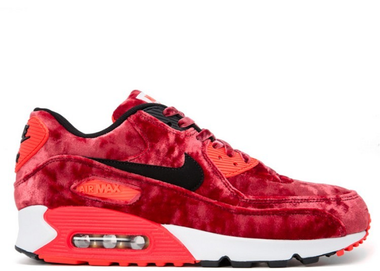 Cheap Wholesale Nike Wmns Air Max 90 Anniversary Red Velvet 726485-600 Gym Red Black-Infrared-Metallic Gold - www.wholesaleflyknit.com