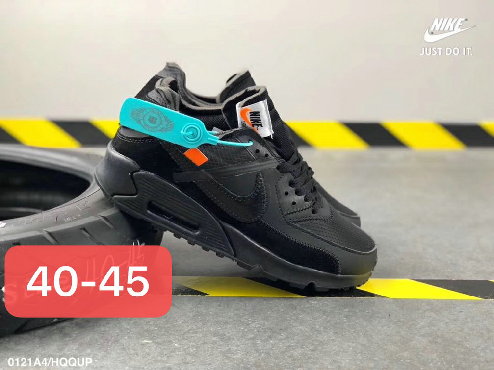 Off White X Boys Nike Air Max 90 Unisex Running Shoes Black All - www.wholesaleflyknit.com