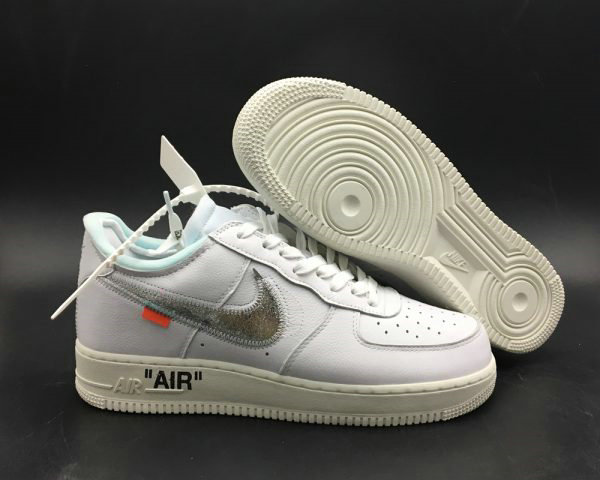Cheap Wholesale Off-White x Air Force 1 07 Off-White AF1 White-Metallic Silver-Sail For Sale - www.wholesaleflyknit.com