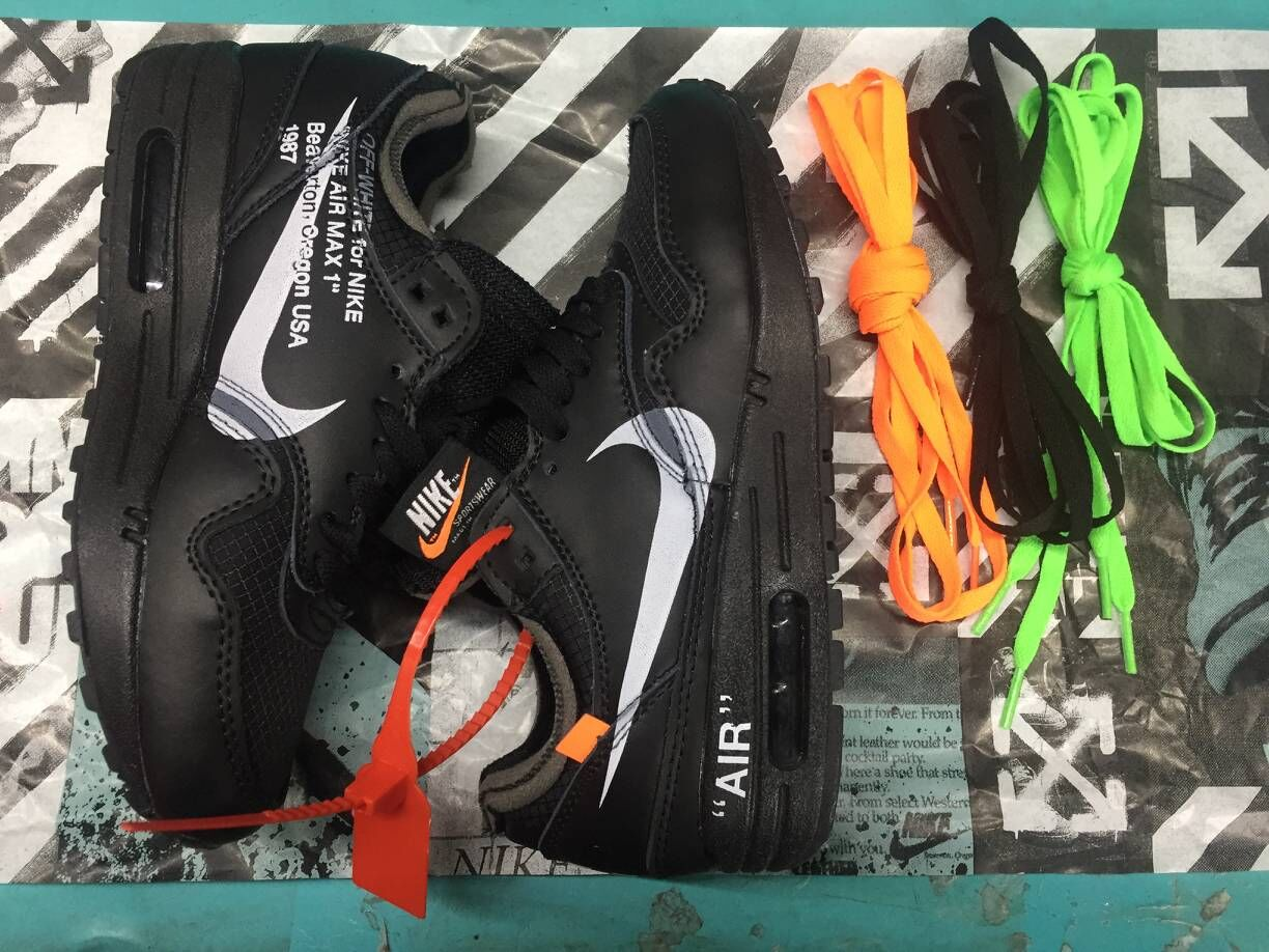 Off-White x Boys Nike Air Max 87 1 All Black White - www.wholesaleflyknit.com