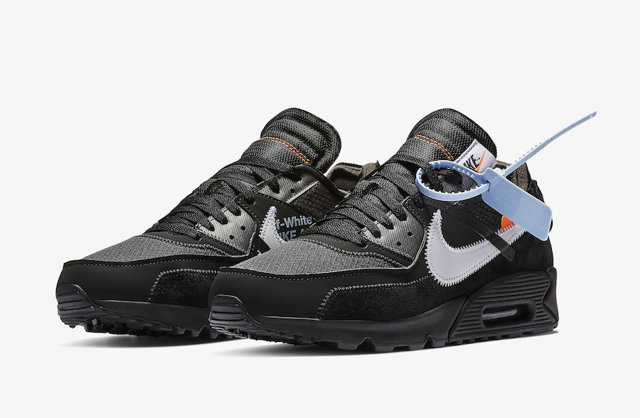 Off-White x Boys Nike Air Max 90 Black-Cone-White-Black AA7293-001 - www.wholesaleflyknit.com