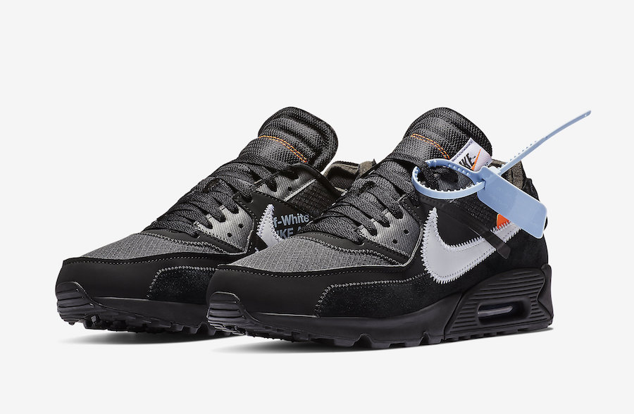 Off-White x Nike Air Max 90 Black-Cone-White-Black AA7293-001 - www.wholesaleflyknit.com
