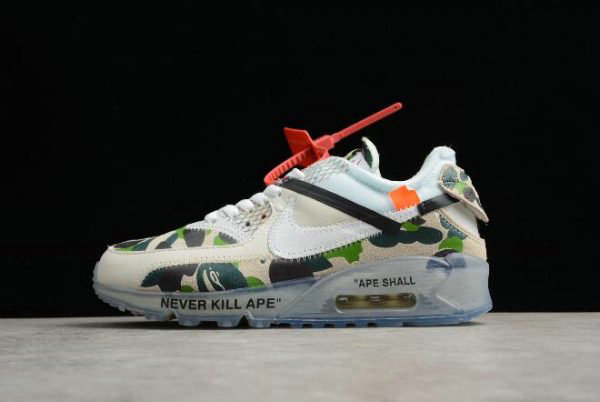 Cheap Wholesale Off White x Nike Air Max 90 Camo Sail White-Muslin Mens and Womens Size AA7293-101 - www.wholesaleflyknit.com