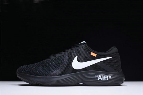 Cheap Wholesale Off-White x Nike Revolution 4 Black WMNS Size Running Shoes 908988-011 - www.wholesaleflyknit.com
