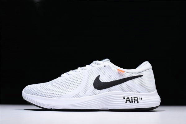 Cheap Wholesale Off-White x Nike Revolution 4 White Running Shoes WMNS Size 908988-012 For Sale - www.wholesaleflyknit.com