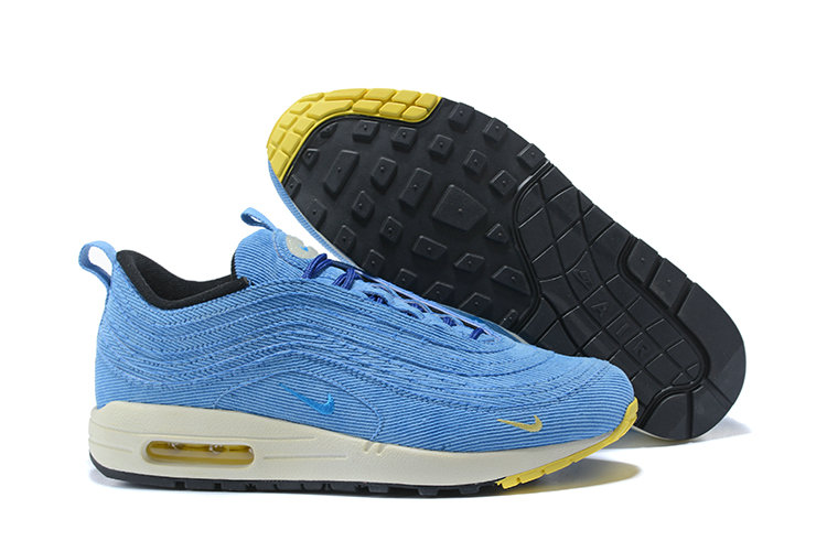 Wholesale Cheap Sean Wotherspoon x Nike Air Max 1 97 VF Sneaker White Blue Yellow Black - www.wholesaleflyknit.com