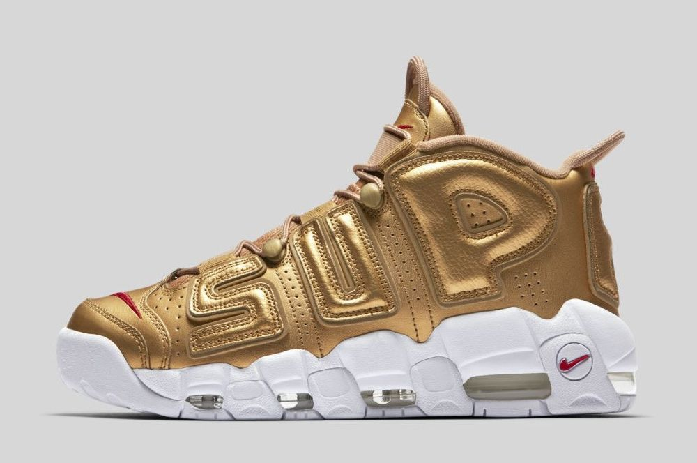 Wholesale Cheap Supreme x Nike Air More Uptempo Metallic Gold White 2017 For Sale - www.wholesaleflyknit.com