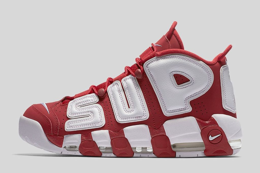 Wholesale Cheap Supreme x Nike Air More Uptempo Varsity Red White 2017 For Sale - www.wholesaleflyknit.com
