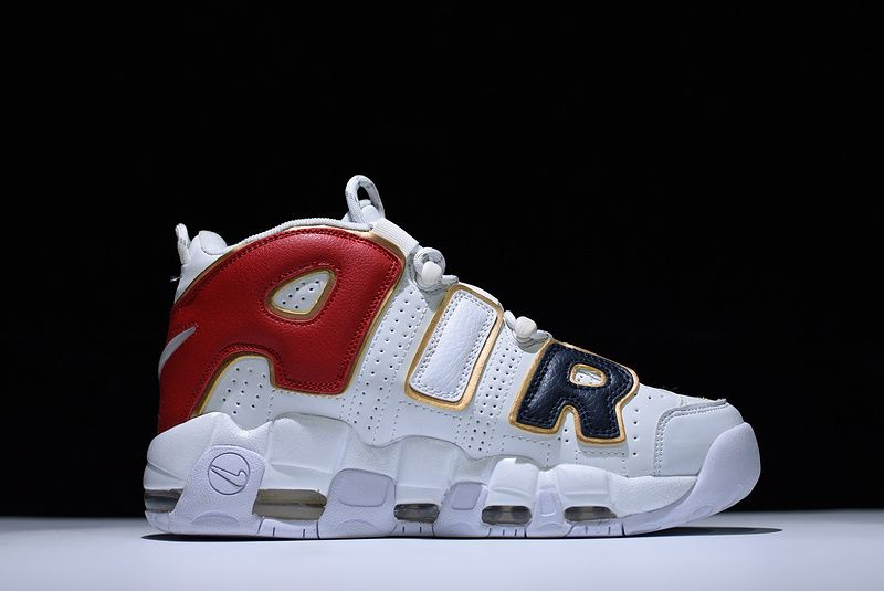 Wholesale Cheap Supreme x WMNS Nike Air More Uptempo White Black Red Gold For Sale - www.wholesaleflyknit.com
