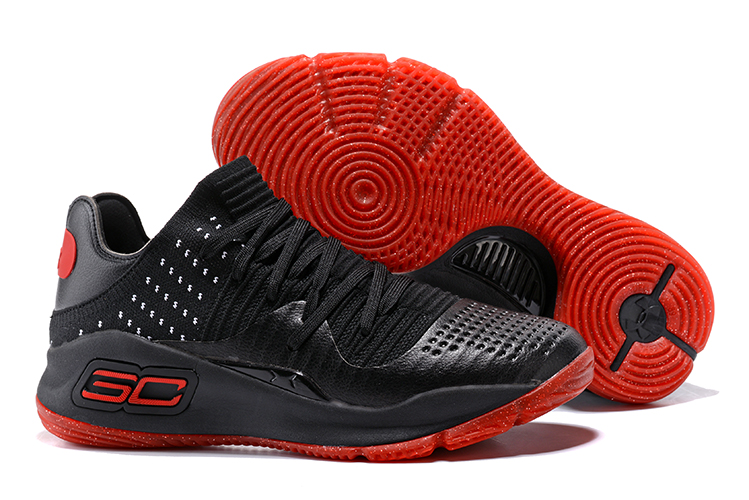Wholesale Cheap Under Armour Curry 4 Low Black Varsity Red-White 2017 For Sale - www.wholesaleflyknit.com