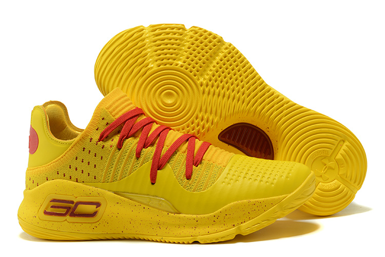 Wholesale Cheap Under Armour Curry 4 Low Bruce Lee Yellow Red For Sale - www.wholesaleflyknit.com