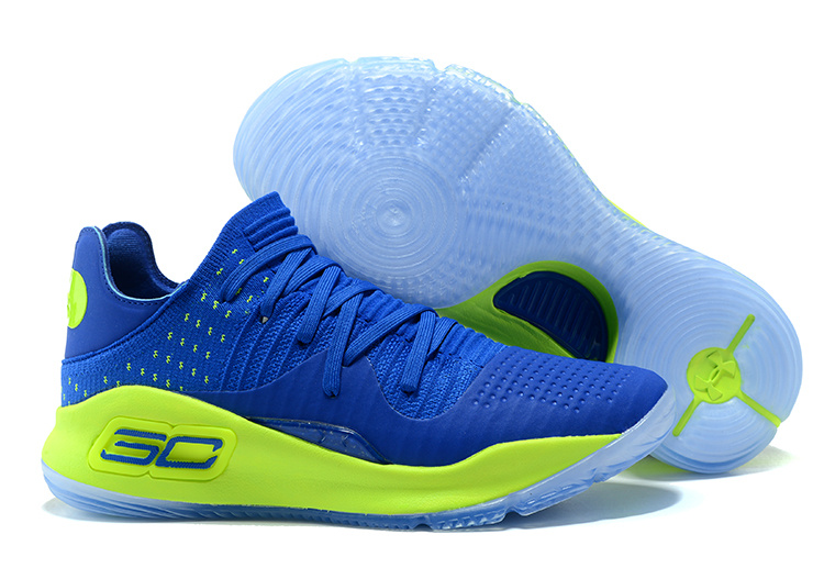 Wholesale Cheap Under Armour Curry 4 Low Royal Blue Green For Sale - www.wholesaleflyknit.com
