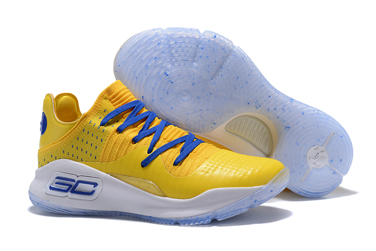 Wholesale Cheap Under Armour Curry 4 Low Warriors Yellow Royal Blue For Sale - www.wholesaleflyknit.com