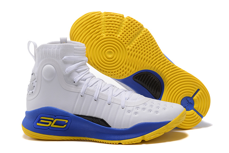 Wholesale Cheap Under Armour Curry 4 White Blue Yellow 2017 For Sale - www.wholesaleflyknit.com