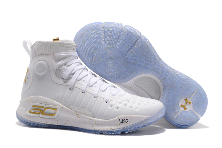 Wholesale Cheap Under Armour Curry 4 White Gold NBA Finals 2017 For Sale - www.wholesaleflyknit.com