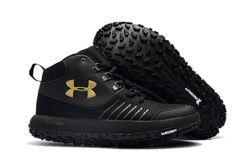 Wholesale Cheap Under Armour UA Fat Tire GTX Black Gold Trail Running Shoes For Sale - www.wholesaleflyknit.com