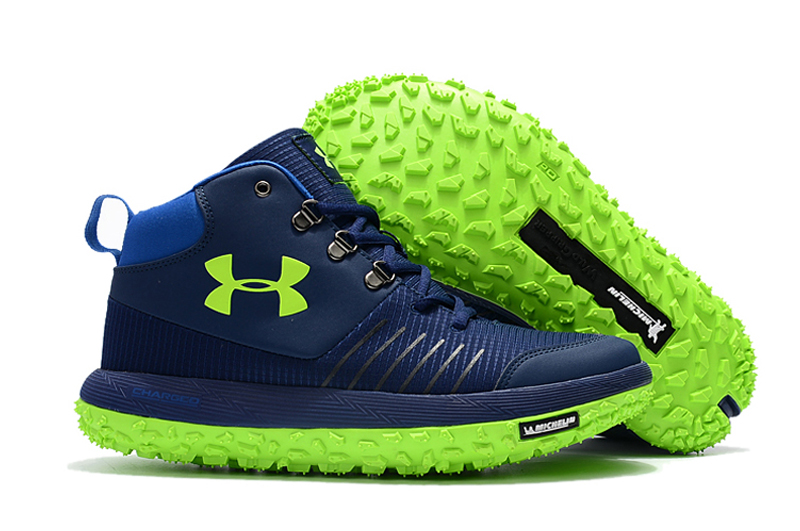 Wholesale Cheap Under Armour UA Fat Tire GTX Navy Blue Green Trail Running Shoes For Sale - www.wholesaleflyknit.com