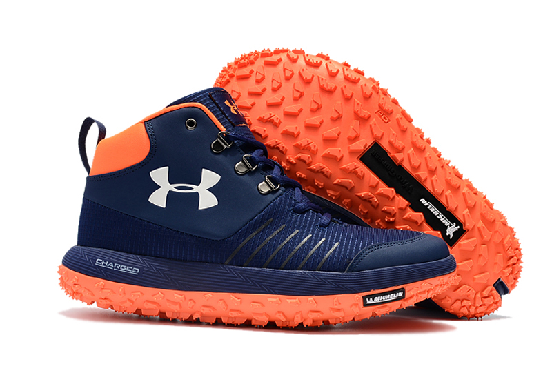 Wholesale Cheap Under Armour UA Fat Tire GTX Navy Blue Orange Trail Running Shoes For Sale - www.wholesaleflyknit.com