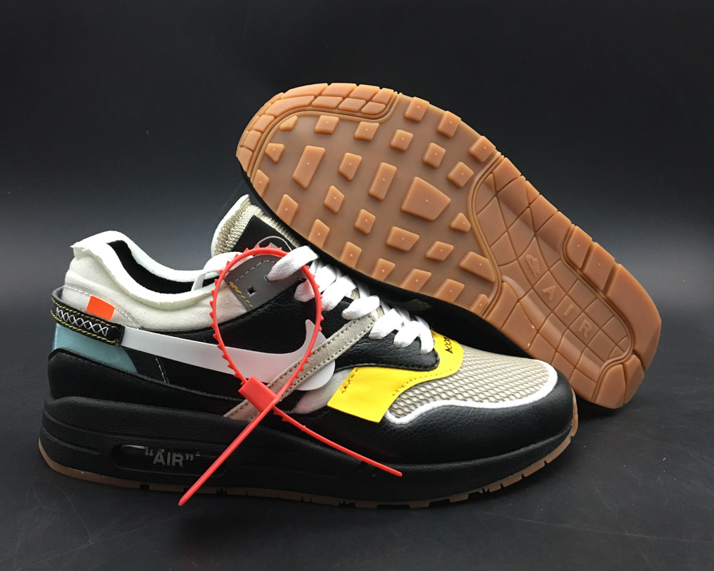 Virgil Abloh x BespokeIND Create Off-White X Boys Nike Air Max 1s Black Leather - www.wholesaleflyknit.com