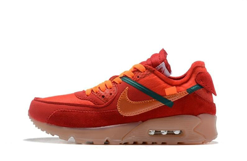 Where To Buy 2019 Womens Cheap Wholesale Off White X Nike Air Max 90 Red Orange OW AA7293-600 - www.wholesaleflyknit.com